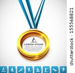 gold medal with sports icons.... | Shutterstock .eps vector #155568821