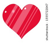 red vector heart with white...   Shutterstock .eps vector #1555722047