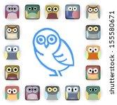 vector set of owl icons | Shutterstock .eps vector #155580671
