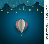 Hot Air Balloon And Moon With...