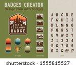 hiking badge creator. vintage... | Shutterstock .eps vector #1555815527