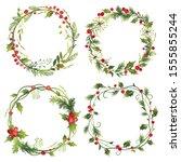 set of decorative christmas... | Shutterstock .eps vector #1555855244