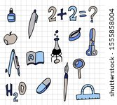 set of school things checkered... | Shutterstock .eps vector #1555858004