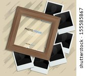 wooden photo frame and blank... | Shutterstock .eps vector #155585867