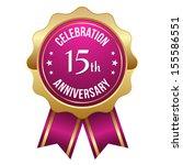 gold pink fifteen year... | Shutterstock .eps vector #155586551