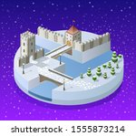 winter christmas landscape... | Shutterstock . vector #1555873214