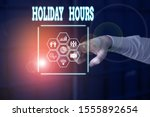 handwriting text holiday hours. ...   Shutterstock . vector #1555892654