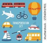 vector set with transportation  ... | Shutterstock .eps vector #1556041901