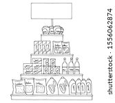 Grocery Pyramid Shelves Graphic ...