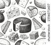cheese seamless pattern. hand... | Shutterstock .eps vector #1556071607