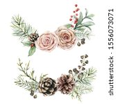 Watercolor Roses  Pine Cone An...