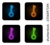 glowing neon pirate key icon... | Shutterstock .eps vector #1556097194
