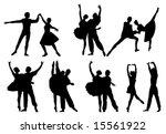 black silhouettes of ballerinas ... | Shutterstock .eps vector #15561922