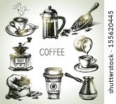 hand drawn coffee set | Shutterstock .eps vector #155620445