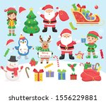 set of christmas characters and ... | Shutterstock .eps vector #1556229881