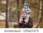 father and son having fun... | Shutterstock . vector #155627675