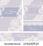 Set of wedding invitations and announcements with vintage lace background.
