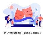 kids with tutors enjoy acting... | Shutterstock .eps vector #1556358887