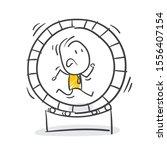 stick figure in an hamster...   Shutterstock .eps vector #1556407154