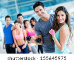 group of people at the gym... | Shutterstock . vector #155645975