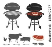 barbecue elements set | Shutterstock .eps vector #155647277