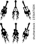 vector guitar silhouettes with... | Shutterstock .eps vector #155647604