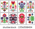a set of eight colorful folk... | Shutterstock .eps vector #1556508404