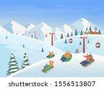 winter landscape with ski lift  ... | Shutterstock .eps vector #1556513807