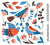 collection of birds and flowers ... | Shutterstock .eps vector #1556535434