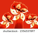 hong kong flag combined with... | Shutterstock . vector #1556537897