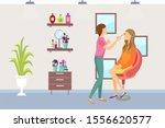 visagiste makeup process of... | Shutterstock . vector #1556620577