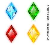 Set Of Four Gems Rhomb Shaped