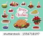 christmas dinner icons stickers ... | Shutterstock .eps vector #1556718197