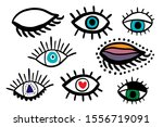 big eyes set different forms... | Shutterstock .eps vector #1556719091
