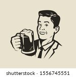 happy man holding a beer mug.... | Shutterstock .eps vector #1556745551