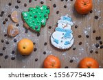 beautiful gingerbread cookie in ... | Shutterstock . vector #1556775434