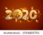 new year greeting card 2020. 3d ... | Shutterstock .eps vector #1556805701