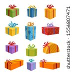 colored gift boxes with ribbon