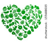 vector heart made of fruits and ... | Shutterstock .eps vector #155688035
