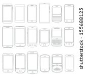 Set of Mobile Phone Outlines as Vectors