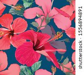 seamless pattern tropical... | Shutterstock .eps vector #1556894891