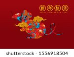 chinese greeting card of happy... | Shutterstock .eps vector #1556918504