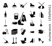icons set cleaning. vector... | Shutterstock .eps vector #155696411