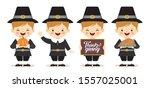 set of cartoon cute pilgrim boy ... | Shutterstock .eps vector #1557025001