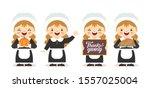 set of cartoon cute pilgrim... | Shutterstock .eps vector #1557025004