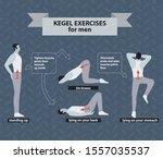 pelvic floor exercises for men. ...   Shutterstock .eps vector #1557035537