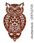 brown owl in ornamental style... | Shutterstock .eps vector #155712725