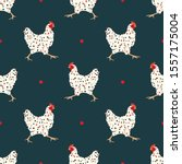 seamless pattern with hens.... | Shutterstock .eps vector #1557175004
