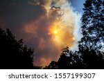 Small photo of Australian bushfire: trees silhouettes and smoke from bushfires covers the sky and glowing sun barely seen through the smoke. Catastrophic fire danger, NSW, Australia