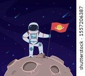 Astronaut On Moon. Spaceman...